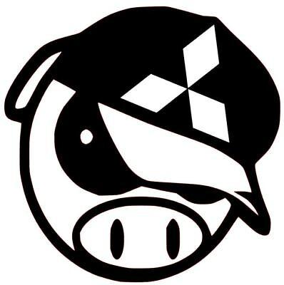 MITSUBISHI DECAL ANGRY PIG LANCER EVO  CAR TRUCK  CUSTOM VINYL STICKER 10 COLORS