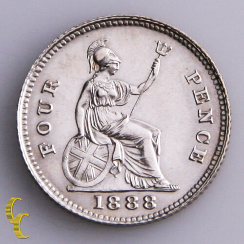 1888 Great Britain 4 Pence Silver Coin KM# 772