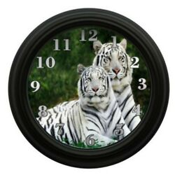 White Tiger Clock Animals  Wall Decor Bedroom Decor Wildlife Forest