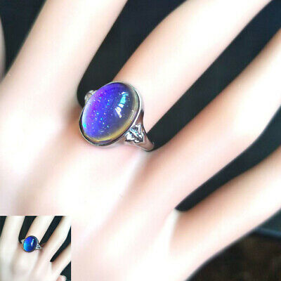 Charm Unisex Vintage Oval Mood Multi Colored Change Color Chart Finger Ring Gift