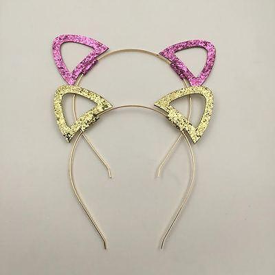 Glitter cat ear headband - choice of gold or pink - Gold Glitter Headband