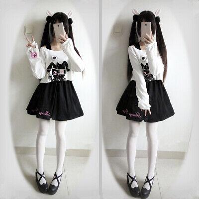 Black Comic Rabbit Dress 2 Pcs Suit Kawaii Bunny Print Japanese Lolita Dress ](Black Bunny Suit)