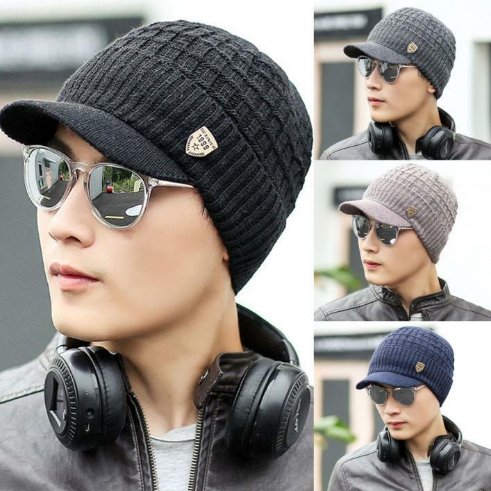 Men Crochet Knit Weave Plicate Baggy Beanie Wool Hat Skull Winter Warm Chic ts
