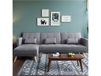 Brand New Modern L Shape Recliner Sofa Bed New Fabric Padded Sofabed Suite With 3 Cushions