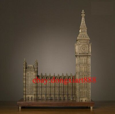 58.5 CM Chinese Art Deco Pure Brass London parliament house Big Ben sculpture