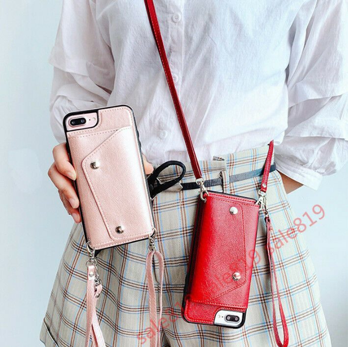 Crossbody bag Card Wallet +with strap Flip Holder Leather Ca