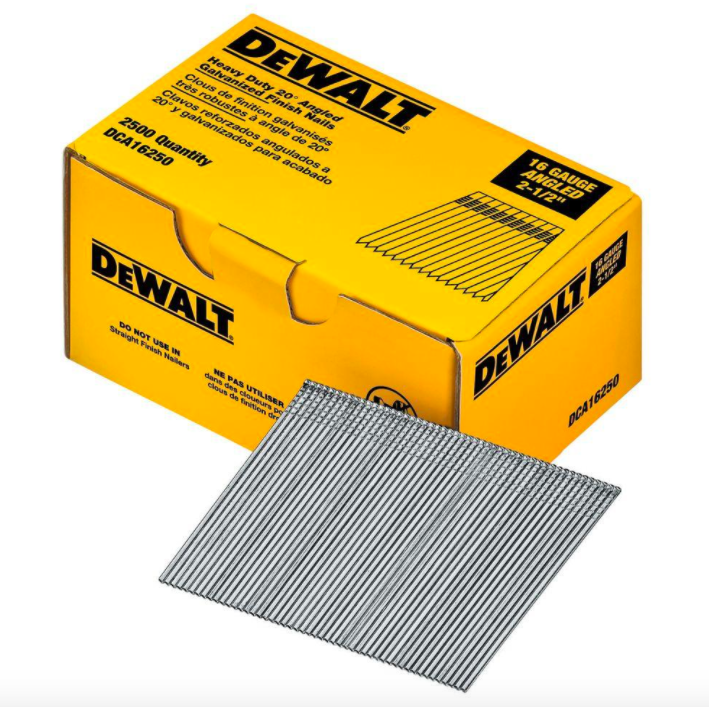 DEWALT DCA16250 2-1/2-Inch by 16 Gauge 20-Degree Finish Nail