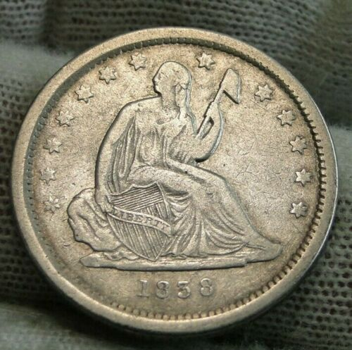 1838 Seated Liberty Quarter 25 Cents - Key Date only 466,000 minted, Nice (9546)