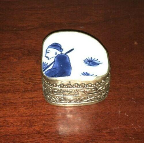 Vintage Blue & White Porcelain Pill Trinket Jewelry Box