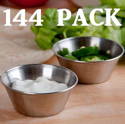 144 Pack 1.5 Oz Stainless Steel Round Silver Ramekin Sauce Condiment Portion Cup