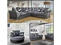 BRAND NEW SHANNON BLACK AND GREY CORNER OR 3+2 SEATER SOFA SET SET AVAILABLE IN STOCK ORDER NOW