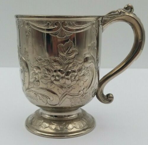 Exquisite Vintage English Silverplate Fancy Floral Design Drinking Cup #6500