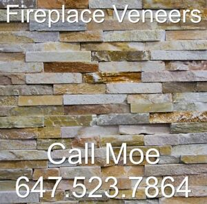 Desert Gold Country Thin Stone Veneers Fireplace Facing Wall Dec