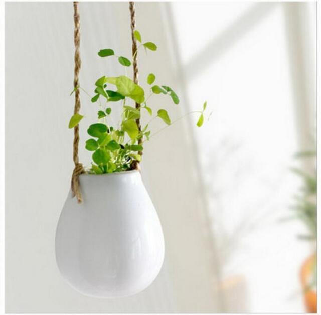 Home Garden Ceramic Hanging Planter Flower Pot Pots Green Plant Vase w Twine Z