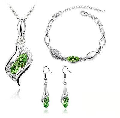 Kostüm Schmuckset Grün Silber Tropfen Ohrhänger Halskette Armband - Grünen Kostüm Schmuck Sets