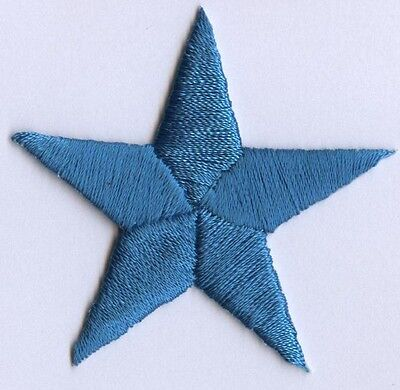 "Iron On Embroidered Applique Patch Star 1.75"" Turquoise 150034 SET 5 PCS"