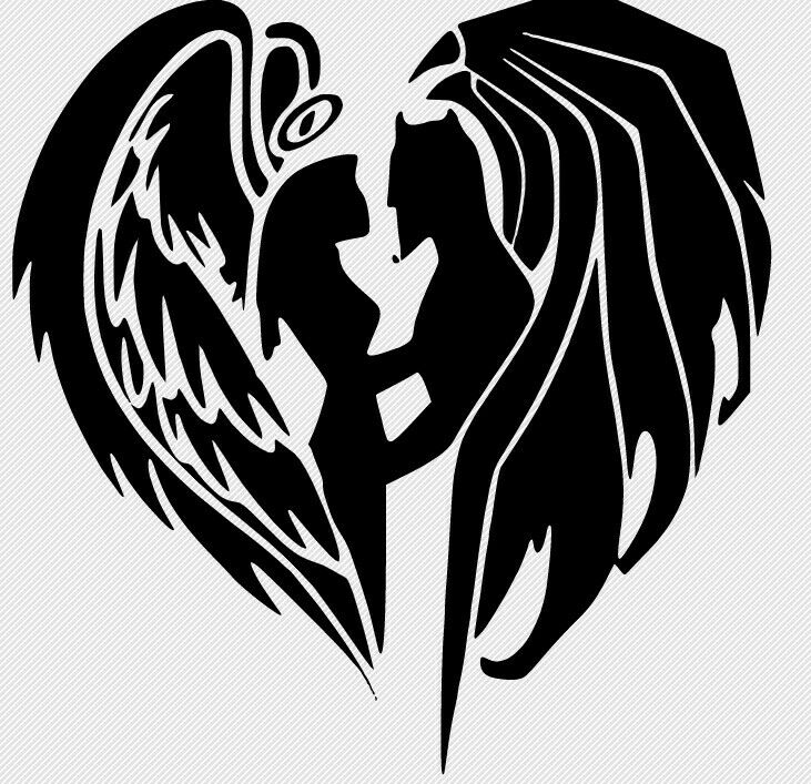 Angels And Demons Decal Car Glass Truck Wall FREE GIFT WITH PURCHASE