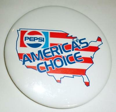 "PEPSI ""America's Choice"" Pin/Button 3"" VINTAGE!"