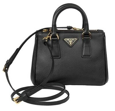 NEW PRADA Mini Black Nero Saffiano Lux leather bag 1BH907 CrossBody