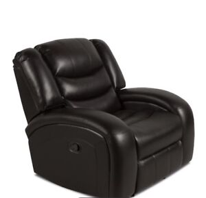Brand New Angus leather-look fabric Reclining chair- Dark brown