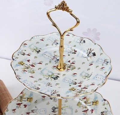 SNOWMAN 3 Tier Round Porcelain Serving Stand, - Tiered Serving Stand