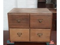 Four Vintage Oak Index Library Filing Drawers