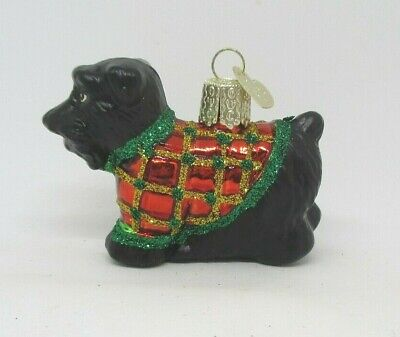 Old World Christmas SCOTTIE DOG Glass Ornament with OWC tag