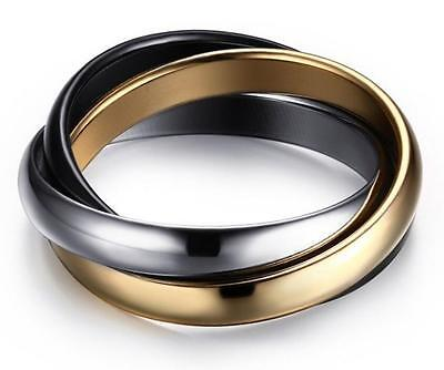 18KGP Stainless Steel 316L Tri Color Interlocking Trinity Rolling Ring Set