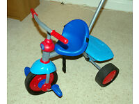 Kid's trike with push-handle, children's toy, tricycle, VGC