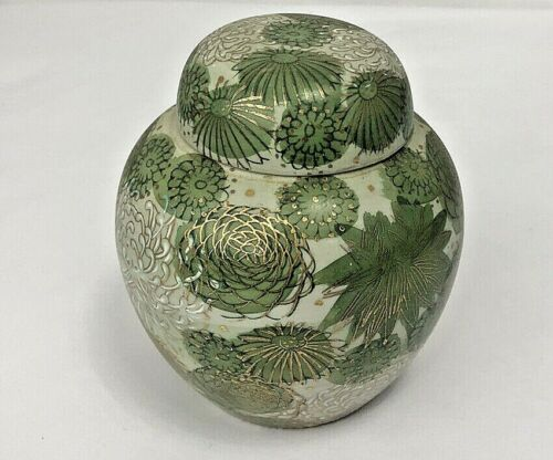 "Vintage Fujita Kutani 5"" Ginger Jar with Lid Green Gold Chrysanthemum Japan"