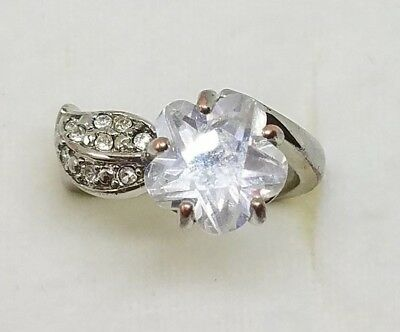 CZ Flower Stone Silver Tone Bypass Ring SZ 6.5 by Nance and Rise for AVON Avon And Flower Ring