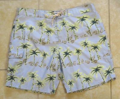 "JCrew Mens 9"" Board Short Palm Tree Print Swim Trunk H9313 $70 Sage Multi 36"