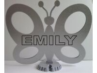 EMILY, PERSONALISED BUTTERFLY GIFT in Shimmering Metallic Silver