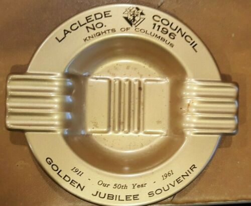 Vintage Knights of Columbus Ashtray Tin Golden Jubilee 50th year  1911 1961