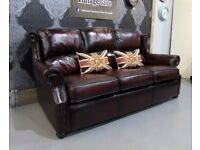 Refurbished Thomas Lloyd Chesterfield 3 Seater Sofa in Oxblood Red Leather - Uk Delivery