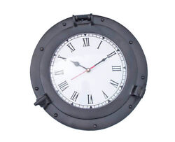 Ship's Cabin Porthole Clock Black Finish 15 Aluminum Hanging Wall Boat Decor