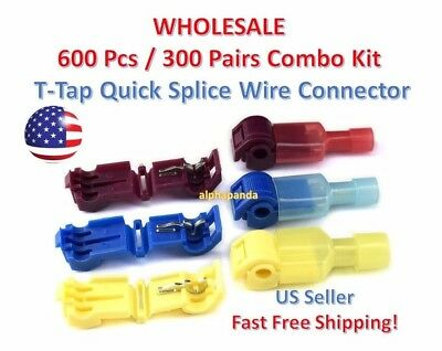 600pc Insulated 22-10 Awg T-taps Quick Splice Wire Terminal Connectors Combo Kit
