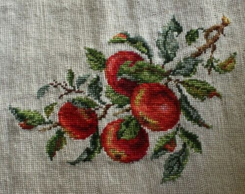 Red Apples on Branch Needlepoint Completed Finished Wool Tan Green