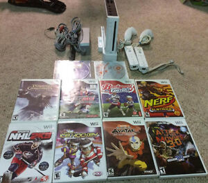 Nintendo Wii With 2 Controllers/Nunchucks and 10 Games!!