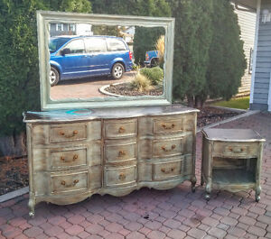 French provincial dresser/mirror/nightstand set