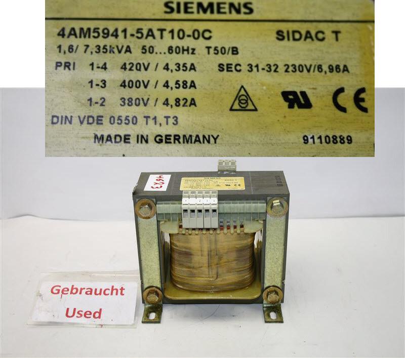 Siemens Transformer 7,35kva 6.96a Sek 31-32 230v 4am 5941-5at10-0c