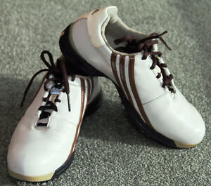 Almost New Lady's Adidas Fitfoam Beige and White Golf Shoes
