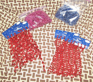 VINTAGE RED COLORED PLASTIC BEAD GARLAND