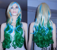 BRAND NEW 80cm Long Curly Gradient Green Wig (202-1253)