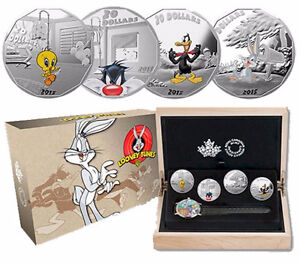 2015 $20 SIlver 1oz Looney Toons 4-coin Set with Wrist Watch NEW