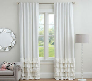 Pottery Barn- Evelyn Ruffle Blackout Curtains (White)- pair