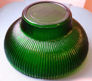 "Antique 4054 Hoosier Ribbed Emerald Green Glass Bowl, 6 1/2"" dia"