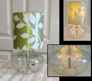 Clear Beauty! Green Themed Glass Table Lamp, H13""