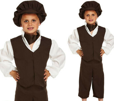 KIDS BOYS VICTORIAN BOY COSTUME CHILD URCHIN BOOK DAY PEASANT FANCY DRESS OUTFIT - Peasant Boy Costume