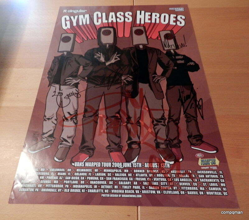 GYM CLASS HEROES SIGNED 2006 Vans Warped Tour Poster
